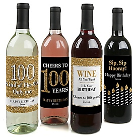 Adult 100th Birthday - Gold - Decorations for Women and Men - Wine Bottle Label Birthday Party Gift - Set of 4