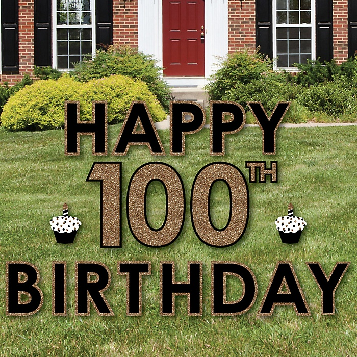 Happy 100th Birthday - Gold - Yard Sign Outdoor Lawn Decorations - Adult 100th Birthday Yard Signs