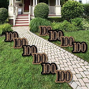 Adult 100th Birthday - Gold Lawn Decorations - Outdoor Birthday Party Yard Decorations - 10 Piece