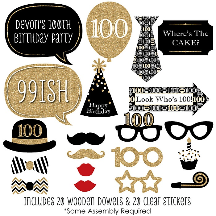 Adult 100th Birthday - Gold - 20 Piece Birthday Party Photo Booth Props Kit