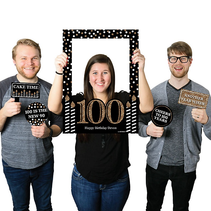 Adult 100th Birthday - Gold - Personalized Birthday Party Selfie Photo Booth Picture Frame & Props - Printed on Sturdy Material