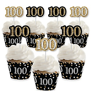 Adult 100th Birthday - Gold - Cupcake Decoration - Birthday Party Cupcake Wrappers and Treat Picks Kit - Set of 24