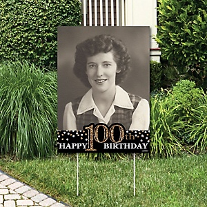 Adult 100th Birthday - Gold - Photo Yard Sign - Birthday Party Decorations