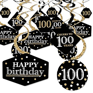 Adult 100th Birthday - Gold - Birthday Party Hanging Decor - Party Decoration Swirls - Set of 40