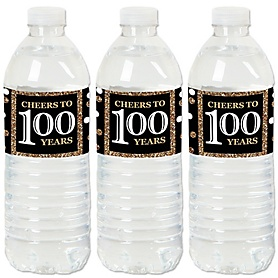 Adult 100th Birthday - Gold - Birthday Party Water Bottle Sticker Labels - Set of 20