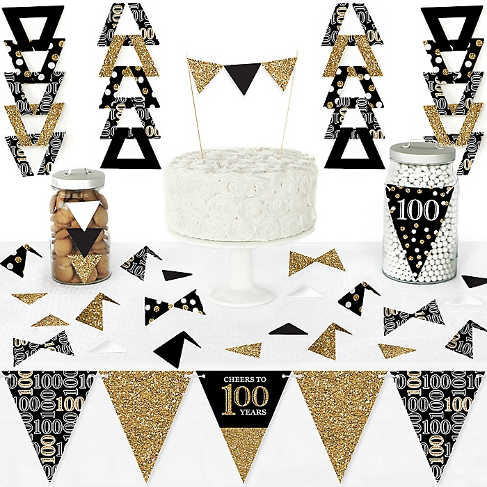 Adult 100th Birthday - Gold - DIY  Pennant Banner Decorations - Birthday Party Triangle Kit - 99 Pieces