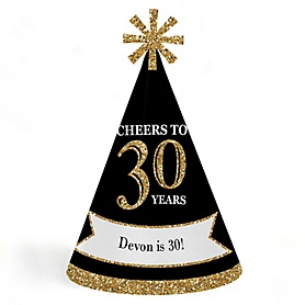 Adult 30th Birthday - Gold - Personalized Cone Happy Birthday Party Hats for Kids and Adults - Set of 8 (Standard Size)