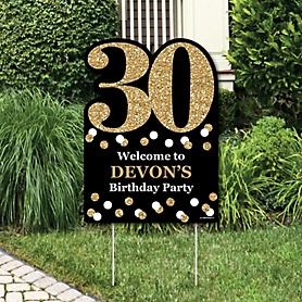 Adult 30th Birthday - Gold - Party Decorations - Birthday Party Personalized Welcome Yard Sign