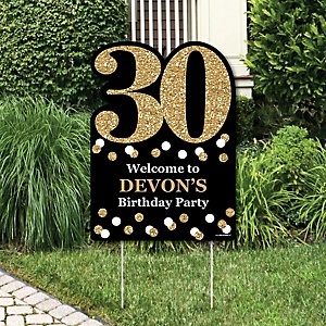 adult 30th birthday gold birthday party theme