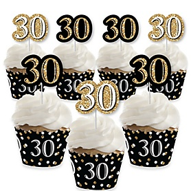 Adult 30th Birthday - Gold - Cupcake Decorations - Birthday Party Cupcake Wrappers and Treat Picks Kit - Set of 24