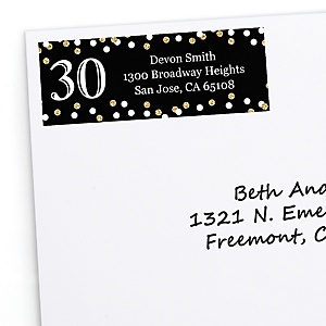 Adult 30th Birthday - Gold - Personalized Birthday Party Return Address Labels - 30 ct