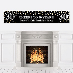 Adult 30th Birthday - Gold - Personalized Birthday Party Banner