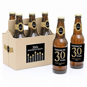 Adult 30th Birthday - Gold - Decorations for Women and Men - 6 Beer Bottle Labels and 1 Carrier - Birthday Gift