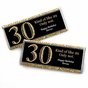 Adult 30th Birthday - Gold - Personalized Candy Bar Wrappers Birthday Party Favors - Set of 24