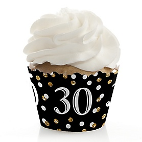 Adult 30th Birthday - Gold - Birthday Decorations - Party Cupcake Wrappers - Set of 12