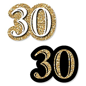 Adult 30th Birthday - Gold - DIY Shaped Party Paper Cut-Outs - 24 ct