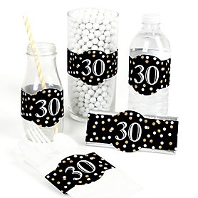 Adult 30th Birthday - Gold - DIY Party Wrappers - 15 ct