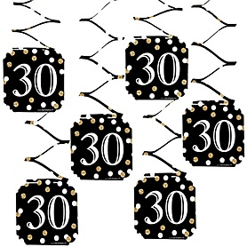 Adult 30th Birthday - Gold - Birthday Party Hanging Decorations - 6 ct