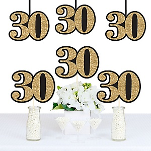 Adult 30th Birthday - Gold - Decorations DIY Party Essentials - Set of 20