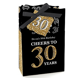 Adult 30th Birthday - Gold - Personalized Birthday Party Favor Boxes - Set of 12
