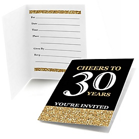 Adult 30th Birthday - Gold - Birthday Party Fill In Invitations - 8 ct