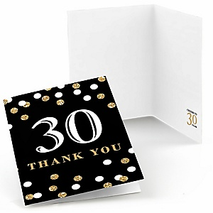 Adult 30th Birthday - Gold - Birthday Party Thank You Cards - 8 ct