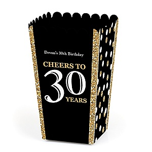 Adult 30th Birthday - Gold - Personalized Birthday Party Popcorn Favor Treat Boxes - Set of 12
