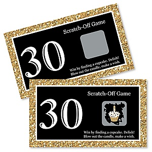 Adult 30th Birthday - Gold - Birthday Party Game Scratch Off Cards - 22 ct