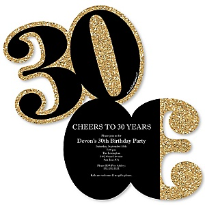 Adult 30th Birthday - Gold - Shaped Birthday Party Invitations - Set of 12