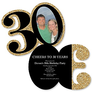 Adult 30th Birthday - Gold - Personalized Shaped Photo Birthday Party Invitations - Set of 12