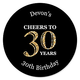 Adult 30th Birthday - Gold - Personalized Birthday Party Sticker Labels - 24 ct