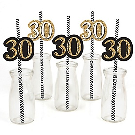 Adult 30th Birthday - Gold - Paper Straw Decor - Birthday Party Striped Decorative Straws - Set of 24
