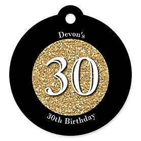 Adult 30th Birthday - Gold - Round Personalized Birthday Party Tags - 20 ct
