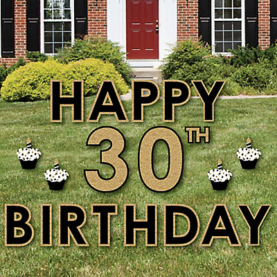 Adult 30th Birthday Gold Yard Sign Outdoor Lawn