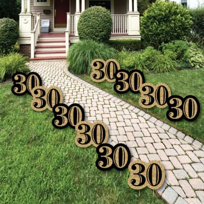 Adult 30th Birthday Gold Lawn Decorations Outdoor Birthday