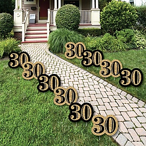 Adult 30th Birthday - Gold Lawn Decorations - Outdoor Birthday Party Yard Decorations - 10 Piece