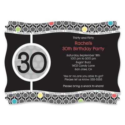 Adult 30th Birthday Personalized Birthday Party Invitations