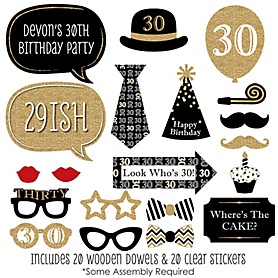 Adult 30th Birthday - Gold - 20 Piece Photo Booth Props Kit