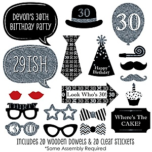 Adult 30th Birthday - Silver - 20 Piece Photo Booth Props Kit