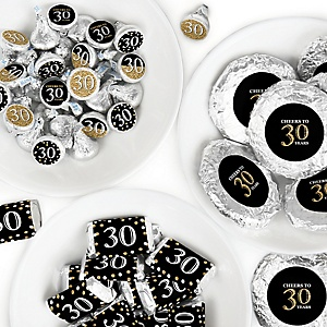 Adult 30th Birthday - Gold - Mini Candy Bar Wrappers, Round Candy Stickers and Circle Stickers - Birthday Party Candy Favor Sticker Kit - 304 Pieces