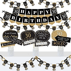 Adult 30th Birthday - Gold - Banner and Photo Booth Decorations - Birthday Party Supplies Kit - Doterrific Bundle