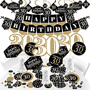 Adult 30th Birthday - Gold - Birthday Party Supplies - Banner Decoration Kit - Fundle Bundle