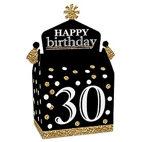 Adult 30th Birthday - Gold - Treat Box Party Favors - Birthday Party Goodie Gable Boxes - Set of 12