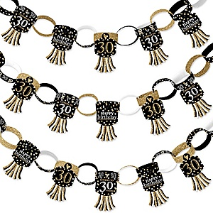 Adult 30th Birthday - Gold - 90 Chain Links and 30 Paper Tassels Decoration Kit - Birthday Party Paper Chains Garland - 21 feet