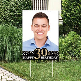 Adult 30th Birthday - Gold - Photo Yard Sign - Birthday Party Decorations
