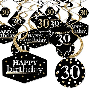 Adult 30th Birthday - Gold - Birthday Party Hanging Decor - Party Decoration Swirls - Set of 40