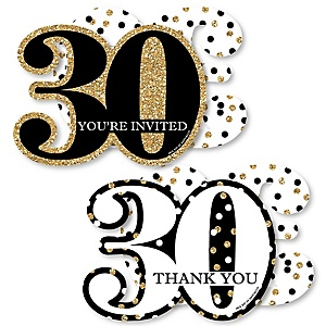 Adult 30th Birthday - Gold - 20 Shaped Fill-In Invitations and 20 Shaped Thank You Cards Kit - Birthday Party Stationery Kit - 40 Pack