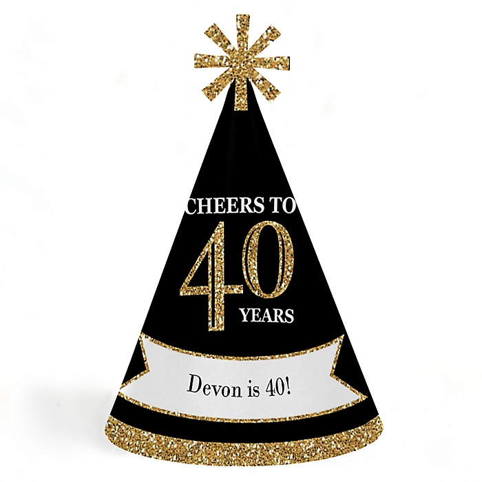 Adult 40th Birthday - Gold - Personalized Cone Happy Birthday Party Hats for Kids and Adults - Set of 8 (Standard Size)
