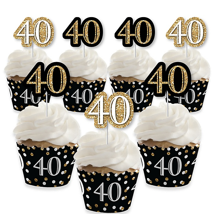 Adult 40th Birthday - Gold - Cupcake Decorations - Birthday Party Cupcake Wrappers and Treat Picks Kit - Set of 24