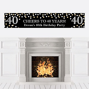 Adult 40th Birthday - Gold - Personalized Birthday Party Banner
